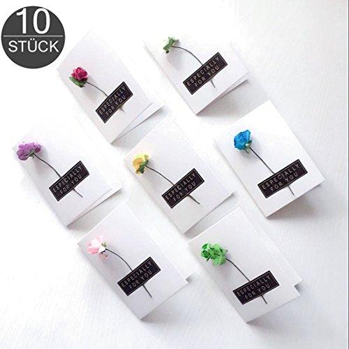 Grußkarten Set 10 kleine Glückwunschkarten Größe 6 x 8,4 cm mit handgefertigter getrockneter Blume individuelle Trockenblume handmade zufällige Auswahl Mini Dankeskarten gefalzt wortek