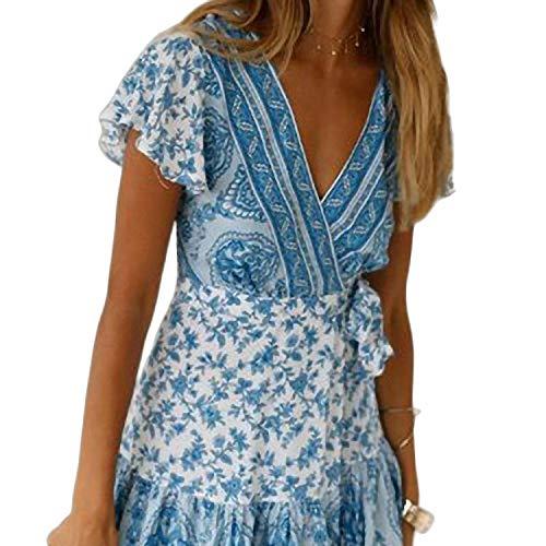 Mini Casual Blumenkleid Frauen Kurzarm Vintage Lace Up Chiffon Strand Sommerkleid Plissee Casual A Line Kleid Kleider von Frauen Himmelblau Print Reversible Belt