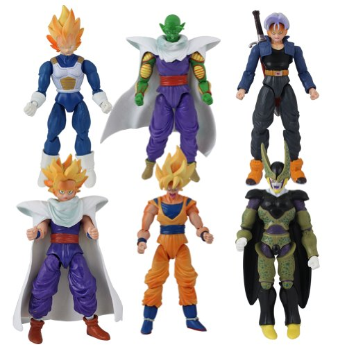 6x Anime Dragon Ball Characters With Changeable Faces 13cm-17cm PVC Action Figure