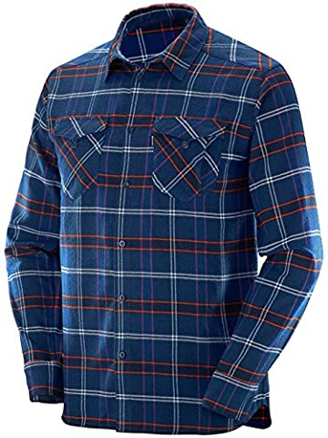 Salomon Ml Boundless Flannel Ls Shirt M - Chemise pour Homme, couleur Bleu, taille L