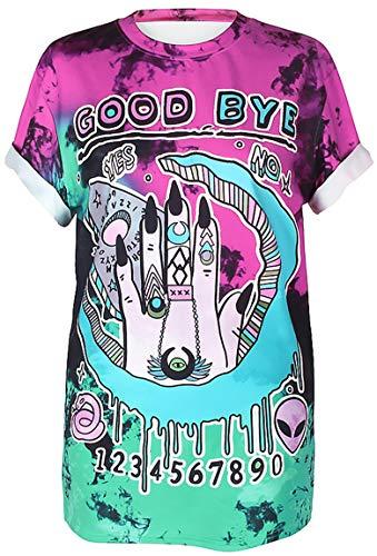 Ocean Plus Unisex 3D Druck Graffiti Alien T-Shirt Loose Fit Wild Verrückt Wahnsinn Tee Shirt Tops (L/XL, 027 Good Bye) (Verrückte Wilde Kostüm)