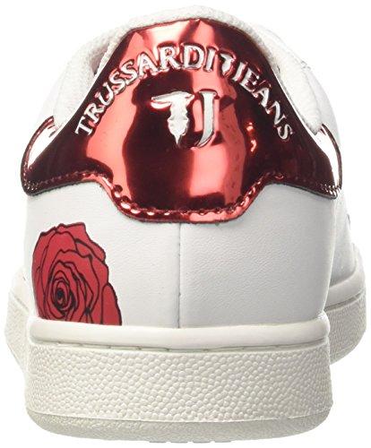 9y099999 79a00006 Da Jeans Ginnastica Laminato Multicolore bianco Trussardi Rose Rosso Femme Scarpe RaxwwEq