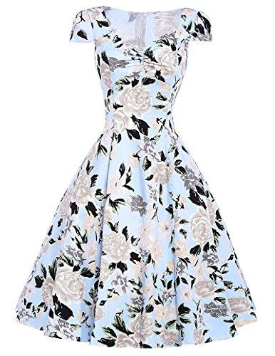 Klassische Vintage Rockabilly kleid Picknick Kleid Partykleid Mit Blumenmuster