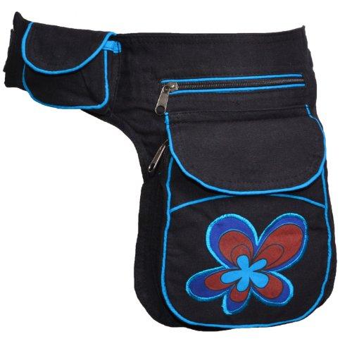 Kunst Handtasche (KUNST UND MAGIE Goa Schulter/Bauchtasche Gürteltasche Bauchgurt Hippie Psy Flower, Farbe:Schwarz/Blau)