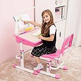 Traditionelle höhenverstellbare Schulbank für Kinder mit LED-Lampe, Stahl Bücherregal und Stuhl mit FREE Tiger Kissen - ChaCha (Rosa)