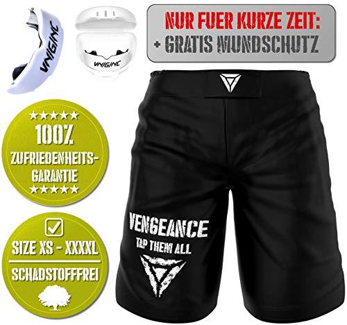 Vengeance Premium Shorts | + GRATIS MUNDSCHUTZ (Werbeaktion) + E-Book (HCG-Diät) | S - 3XL | MMA, Krav MAGA, BJJ, Boxen, Kickboxen, Kampfsport, Fitness | Kurze Hose | Herren & Damen | (L)