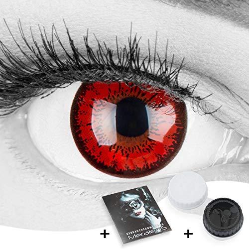 Farbige rote Crazy Fun Kontaktlinsen 'Red Flower' ohne Stärke mit gratis Linsenbehälter - Topqualität zu Karneval, Fasching und Halloween 2019