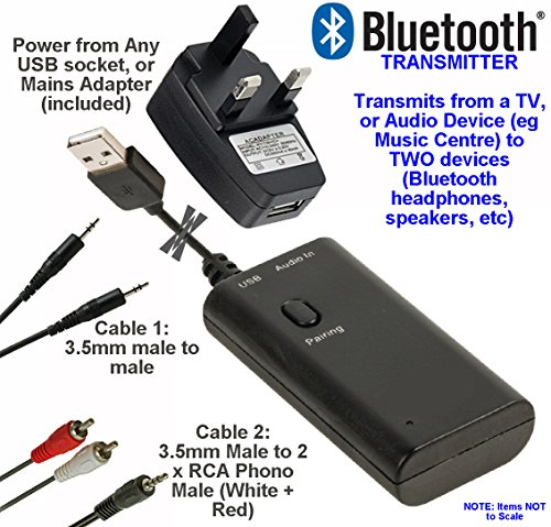 BLUETOOTH TRANSMITTER - Connect 2 x Audio Music Devices