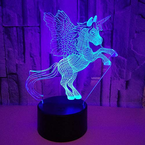 3D Illusion Light LED, 7 Farben Tier Pferd Licht, Touch/Fernbedienung Night Night Lights ausgesetzt, Tischlampe Dekoration Atmosphäre, Geburtstagsgeschenke für Kinder -
