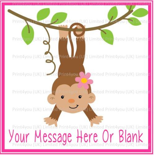 Mädchen Leder Etui Tasche Schutz Hülle Affe ND1 ca, Geburtstagskarte für quadratische personalisierte Kuchendeko 19,05 cm (oder kleiner auf Anfrage) an Glasuren