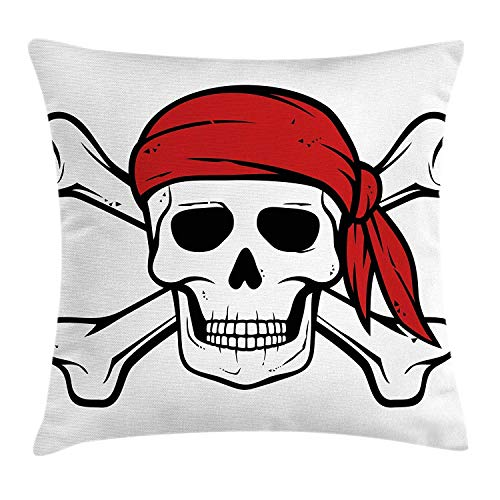 (MLNHY Pirate Throw Pillow Cushion Cover, Dead Pirate Skull and Crossbones Red Bandana Scary Bandit Warning Icon Piracy, Decorative Square Accent Pillow Case, 18 X 18 Inches, Black White Ruby)