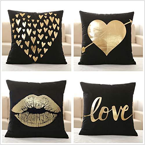 X-Labor Dekorativ Kissenbezug 4-er Set Schwarz Gold Folie Druck Kissen Fall für Sofa Dekokissen Couchkissen 45x45cm - Schlafzimmer-dekorative Kissen
