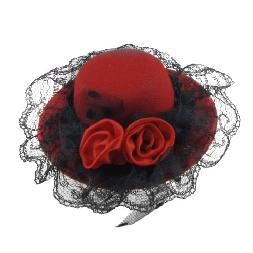 Sourcingmap Mesdames Double Fleurs chapeau en forme de clip Alligator cheveux, rouge