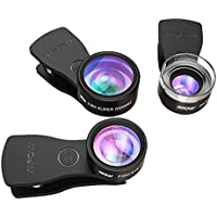 【3 Clips】Fisheye Lens, Mpow 3 in 1 Clip-On Lens Kits 180 Degree Fisheye Lens + 0.36X Wide Angle Lens + 20X Macro Lens with 3 Separate Lens for iPhone 7/6/6s Plus/5/SE, Samsung S8/S7/S6, LG HTC and and Other Smartphone