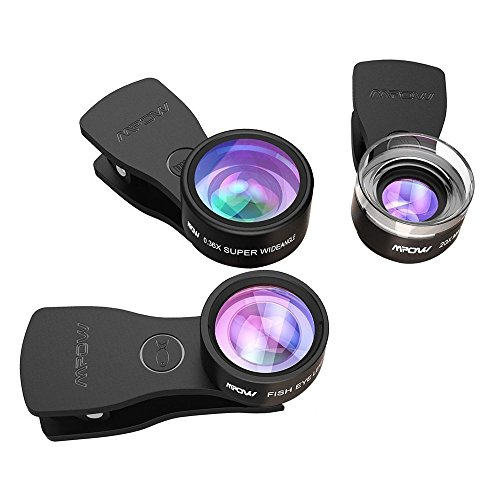 【3 Clips】Fisheye Lens, Mpow 3 in 1 Clip-On Lens Kits 180 Degree Fisheye Lens + 0.36X Wide Angle Lens + 20X Macro Lens with 3 Separate Lens for iPhone 7/6/6s Plus/5/SE, Samsung S8/S7/S6, LG HTC and and Other Smartphone Test
