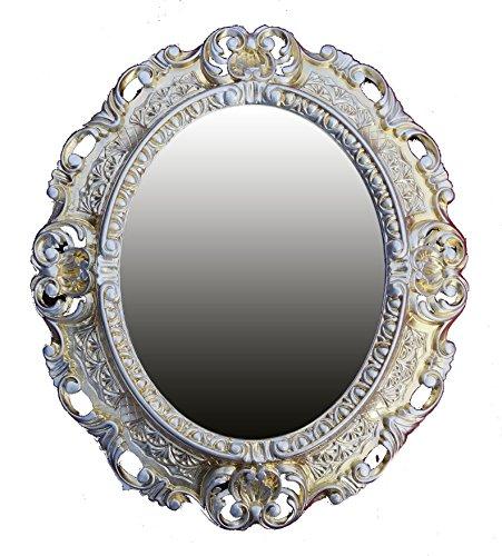 Lnxp WANDSPIEGEL Spiegel Oval in Gold Silber Dualcolor REPRO 45x38 Antik Barock Rokoko REPLIKATE...
