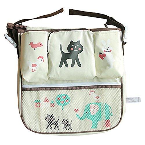 Preisvergleich Produktbild Moolecole Cartoon Buggy Buddy Spaziergänger Organizer - Packung-able Baby-Windel-Aufbewahrungstasche mit Getränkehalter mit Schultergurt Katze