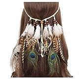 Indian Feder Haarband Hippie Boho Bohemian Quaste Kopfschmuck verstellbar Haarband für Damen Mädchen Haarschmuck Zubehör für Hochzeit Strand Urlaub Fotografie