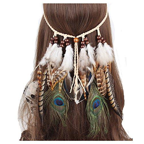 Indian Feder Haarband Hippie Boho Bohemian Quaste Kopfschmuck verstellbar Haarband für Damen Mädchen Haarschmuck Zubehör für Hochzeit Strand Urlaub ()