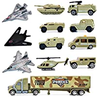deAO 12 Pieces Special Forces Assorted Military Vehicles Scaled Army Toy Play Set - Stealth Bomber, Tank, Helicopter, Jets and more!