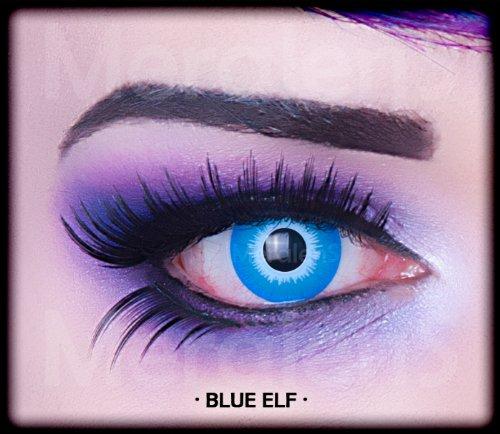Kostüm Alien Big (Meralens A0235 Blue Elf Kontaktlinsen mit Pflegemittel mit Behälter ohne Stärke, 1er Pack (1 x 2)