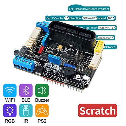 Keywish TB6612FNG Motor Drive Shield Board V3 0 with PSX2, NRF24L01+port,  DC, Stepper, Encoder Deceleration PWM, Servo Motor Interfaces for Arduino