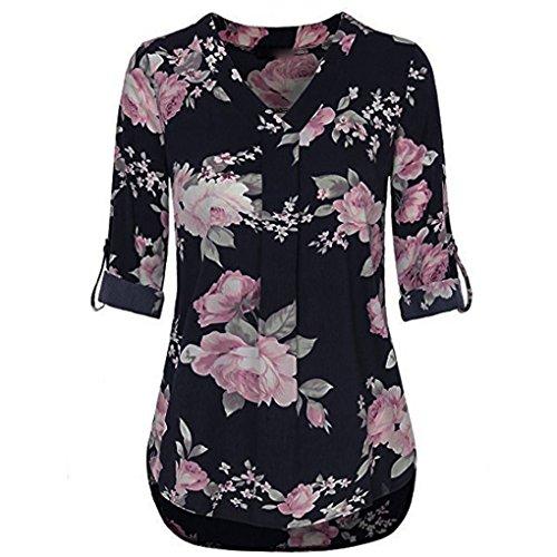 JYJMWomens 3/4 Cuffed Sleeve Chiffon Floral V-Ausschnitt Casual Bluse Shirt Tops Langarm Halbarm Top Schulterfrei Weiches Material Ladies Sommer Elegant Chic Oberteil Locker T-Shirt (L, Blau) - 3/4 Sleeve Floral Shirt