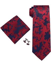 Landisun 86A marine bleu rouge paisleys Homme Soie Ensemble:Cravate Boutons De Manchettes Mouchoir