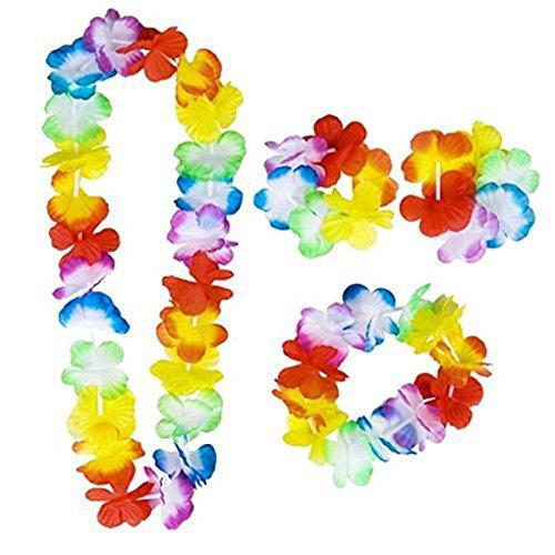 Timlatte 4PCS/Set Hawaiian Leis Set Flower Garland Necklace Headband Wristband Hula Party Lady Men Dance Garland (Hawaiian Leis, Flower)