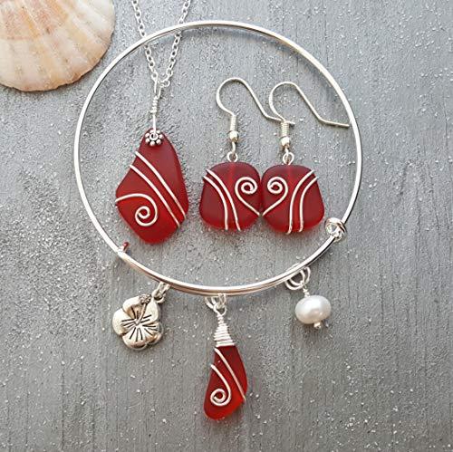 Fatto a mano alle Hawaii, collana di vetro di mare rosso rubino avvolto filo + orecchini + set di gioielli braccialetto,'Birthstone di luglio', ciondolo fiore di ibiscus, perla d'acqua dolce