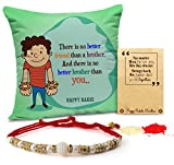 #5: TiedRibbons Rakhi for Brother with Gift Printed Cushion(12 Inch X 12 Inch) with Rakhi and Roli Chawal pack