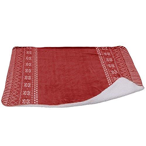 Kuschel-Decke mit Schneeflocken-Muster und Streifen, 130 x 150 cm, rot