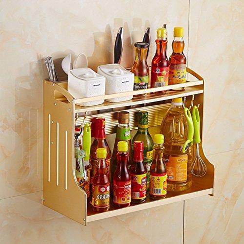 GRY Estante multifuncional de la cocina Capas dobles Espacio Estante de almacenamiento de utensilios de cocina de aluminio Estante de la especia con ganchos y palillos Copa de almacenamiento de cucha