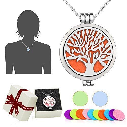 WAWJ - Collar con colgante difusor de acetites esenciales de aromaterapia de acero inoxidable en forma de árbol de la vida, ideal como regalo de Navidad, con cadena de 60,96 cm y 12 discos de fieltro