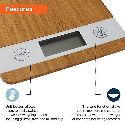 Digitale Smart Weigh Küchenwaage aus Bambus - 3