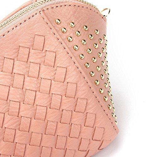 Autunno E Inverno Nuova Semplice Moda Ribattini Tessitura Borsa Spalla Pacchetto Diagonale Coperture Ragazza Pink