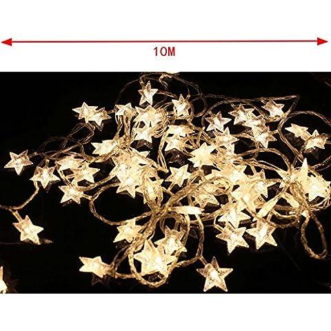 COOSA Parte del LED luces de hadas de la batería Operado de cinco puntas secuencia del LED LED estrella para la decoración del partido del hogar de la boda de Navidad (10 m, blanco calido)