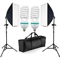 BPS Softbox kit d'éclairage continu pour studio photo 1250W 5500K, 2X Boîte à lumière 50x70cm monture universelle, 2X 625w éclairage Ampoule, 2X Support de lampe, avec sac de transport