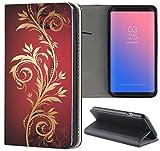 Samsung Galaxy S6 Edge G925 Hülle Premium Smart Einseitig Flipcover Hülle Samsung Galaxy S6 Edge G925 Flip Case Handyhülle Galaxy S6 Edge G925 Motiv (622 Tattoo Style Schwarz Gold Rot)