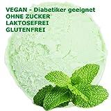 Pfefferminz Geschmack Eispulver VEGAN - OHNE ZUCKER - LAKTOSEFREI - GLUTENFREI - FETTARM, auch für Diabetiker Milcheis Softeispulver Speiseeispulver Gino Gelati (Pfefferminz, 1 kg)