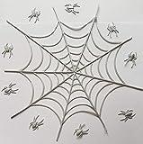 Essbare Kuchendecke/-dekoration, Design: Spiderman mit Spinnennetz, für Halloween, Kinder, Kuchen oder Cupcakes 22 cm large web, 7 cm small web silber