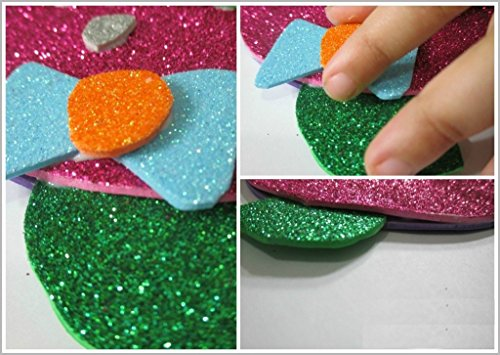 How to make pink glittery foam sheet flowers free crafts for Craft ideas using foam sheets