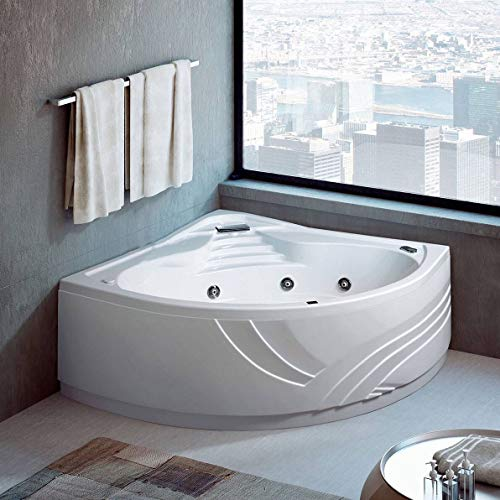capacit/à 120 lt VERSIONE SINISTRA SENZA RUBINETTERIA Vasca da bagno IDROMASSAGGIO con sistema Whirlpool 150x100 Made in Italy