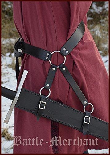 Schwertgürtelhalter aus schwarzem Leder - Schwerthalter Gürtelhalter Mittelalter Schwert