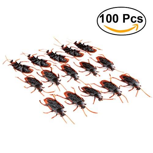 Tinksky 100pcs Gefälschte Hinterwürfe Streich Neuheit Schaben Bugs Plastik Tier Spielzeug Halloween Party Trick Spielzeug (Halloween Tiere)