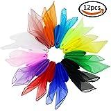 JPSOR 12 pañuelos de seda cifrados de 70cm para la danza, los juegos, acrobacias(12 colores)