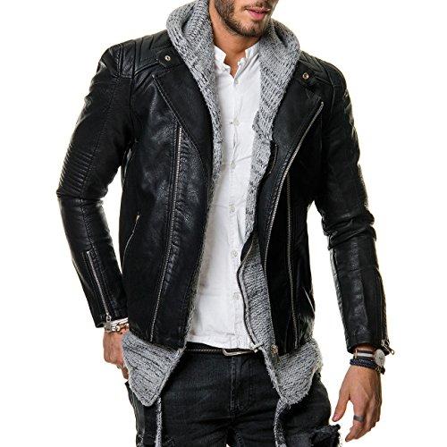 Prestige Homme Herren Biker-Jacke Kunstleder Zipper Gesteppt Schwarz PR20, Größe:L;Farbe:Schwarz