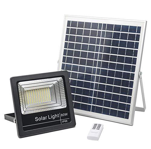 Solarlampen Für Außen 80W, Solar Strahler 4000K Aussen Fernbedienung, Solarleuchte 121 LED, Sicherheitsleuchten solar IP66, 15 Stunden Licht, 3000LM