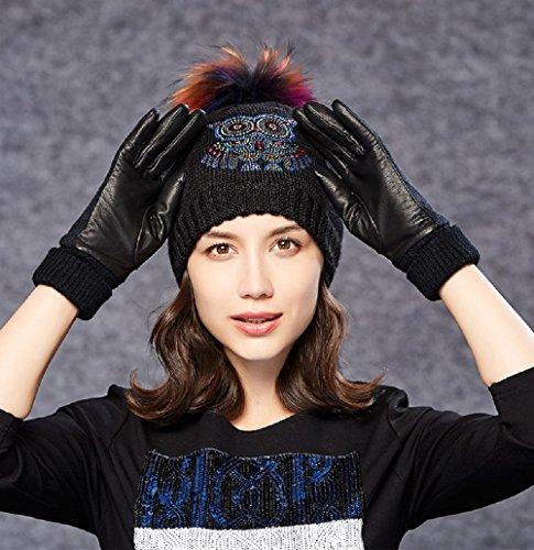 Colorfulworld Touch Handschuhe weibliche Winter fahren Schlupf weatherization Leder im Freien doppelt dicke Lederhandschuhe Finger nach (gray)