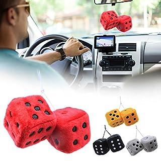 Plüschwürfel Ein Paar Aufhängen Fuzzy Plüsch Würfel mit Punkten für Auto innen Ornament Dekoration 7.5cm, Schwarz/Weiß/Gelb/Rot